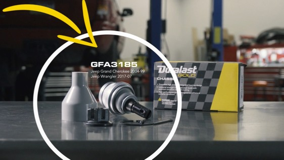 Poster image for video about GFA3185 Ball Joint Installation - Select Jeep Wrangler & Grand Cherokee Applications